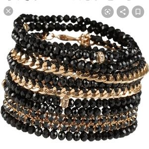 Lot of Black and Gold Stackable Also Bracelets